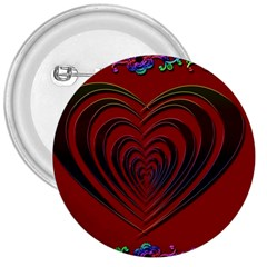 Red Heart Colorful Love Shape 3  Buttons by Nexatart