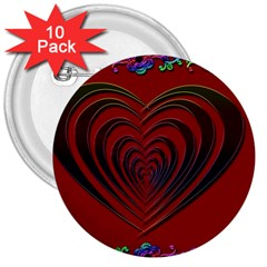 Red Heart Colorful Love Shape 3  Buttons (10 Pack)  by Nexatart