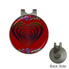 Red Heart Colorful Love Shape Hat Clips With Golf Markers