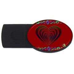 Red Heart Colorful Love Shape Usb Flash Drive Oval (4 Gb) by Nexatart
