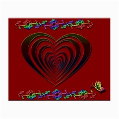 Red Heart Colorful Love Shape Small Glasses Cloth (2 Side) by Nexatart