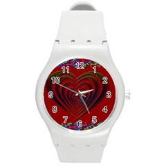 Red Heart Colorful Love Shape Round Plastic Sport Watch (m) by Nexatart