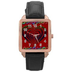 Red Heart Colorful Love Shape Rose Gold Leather Watch