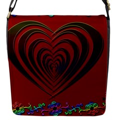 Red Heart Colorful Love Shape Flap Messenger Bag (s) by Nexatart