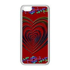 Red Heart Colorful Love Shape Apple Iphone 5c Seamless Case (white)