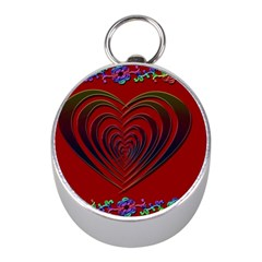 Red Heart Colorful Love Shape Mini Silver Compasses by Nexatart