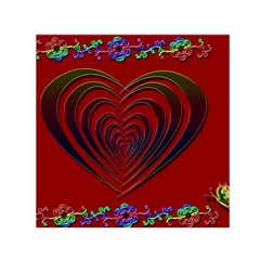 Red Heart Colorful Love Shape Small Satin Scarf (square)