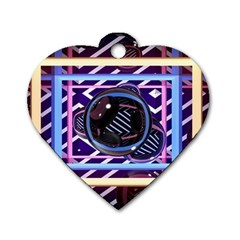 Abstract Sphere Room 3d Design Dog Tag Heart (two Sides) by Nexatart