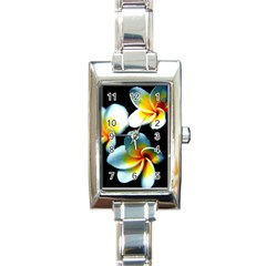 Flowers Black White Bunch Floral Rectangle Italian Charm Watch