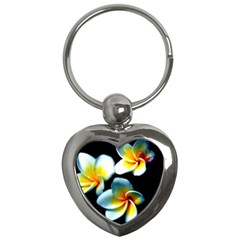 Flowers Black White Bunch Floral Key Chains (heart)