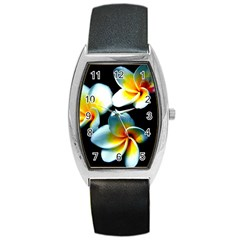 Flowers Black White Bunch Floral Barrel Style Metal Watch by Nexatart