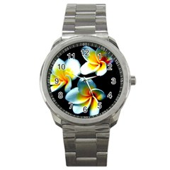 Flowers Black White Bunch Floral Sport Metal Watch by Nexatart