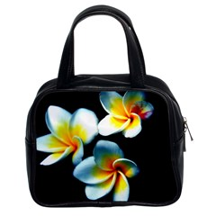 Flowers Black White Bunch Floral Classic Handbags (2 Sides) by Nexatart