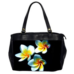 Flowers Black White Bunch Floral Office Handbags (2 Sides)  by Nexatart