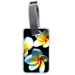 Flowers Black White Bunch Floral Luggage Tags (one Side)  by Nexatart