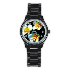 Flowers Black White Bunch Floral Stainless Steel Round Watch