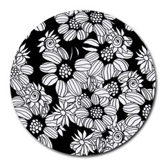 Mandala Calming Coloring Page Round Mousepads by Nexatart