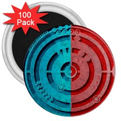 Vector Watch Texture Red Blue 3  Magnets (100 Pack)