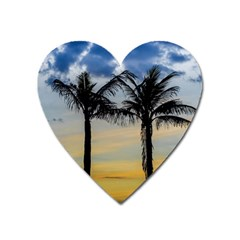 Palm Trees Against Sunset Sky Heart Magnet by dflcprints