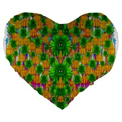 Jungle Love In Fantasy Landscape Of Freedom Peace Large 19  Premium Flano Heart Shape Cushions by pepitasart