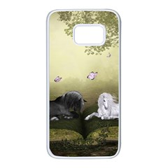 Wonderful Whte Unicorn With Black Horse Samsung Galaxy S7 White Seamless Case