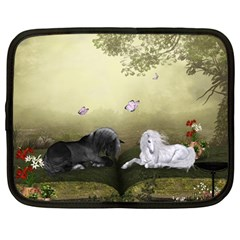 Wonderful Whte Unicorn With Black Horse Netbook Case (large) by FantasyWorld7