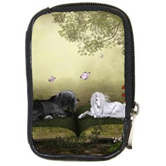Wonderful Whte Unicorn With Black Horse Compact Camera Cases by FantasyWorld7