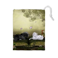 Wonderful Whte Unicorn With Black Horse Drawstring Pouches (large)  by FantasyWorld7