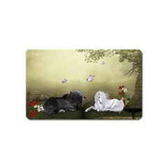 Wonderful Whte Unicorn With Black Horse Magnet (name Card) by FantasyWorld7