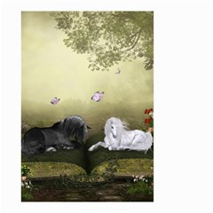 Wonderful Whte Unicorn With Black Horse Small Garden Flag (two Sides) by FantasyWorld7