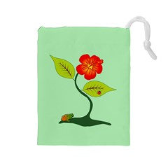 Plant And Flower Drawstring Pouches (large)  by linceazul