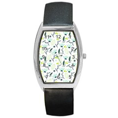 Hand Drawm Seamless Floral Pattern Barrel Style Metal Watch by TastefulDesigns