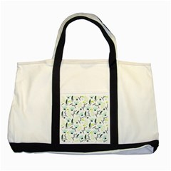 Hand Drawm Seamless Floral Pattern Two Tone Tote Bag by TastefulDesigns