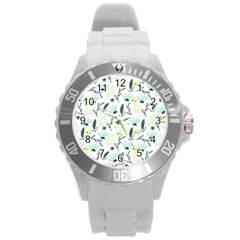 Hand Drawm Seamless Floral Pattern Round Plastic Sport Watch (l) by TastefulDesigns