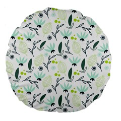Hand Drawm Seamless Floral Pattern Large 18  Premium Flano Round Cushions by TastefulDesigns