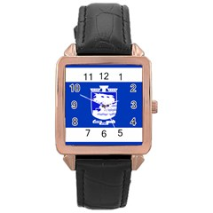 Flag Of Holon  Rose Gold Leather Watch  by abbeyz71