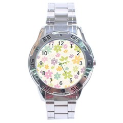 Beautiful Spring Flowers Background Stainless Steel Analogue Watch by TastefulDesigns