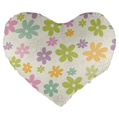 Beautiful Spring Flowers Background Large 19  Premium Flano Heart Shape Cushions by TastefulDesigns