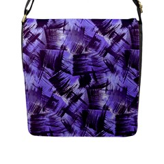 Purple Paint Strokes Flap Messenger Bag (l)  by KirstenStar
