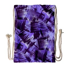 Purple Paint Strokes Drawstring Bag (large) by KirstenStar
