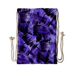 Purple Paint Strokes Drawstring Bag (small) by KirstenStar