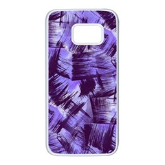 Purple Paint Strokes Samsung Galaxy S7 White Seamless Case by KirstenStar