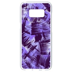 Purple Paint Strokes Samsung Galaxy S8 White Seamless Case by KirstenStar