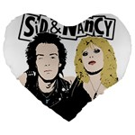 Sid and Nancy Large 19  Premium Heart Shape Cushions Front