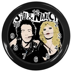 Sid And Nancy Wall Clocks (black) by Valentinaart