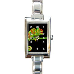 Chameleons Rectangle Italian Charm Watch by Valentinaart