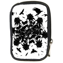 Black Roses And Ravens  Compact Camera Cases by Valentinaart