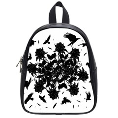 Black Roses And Ravens  School Bags (small)  by Valentinaart