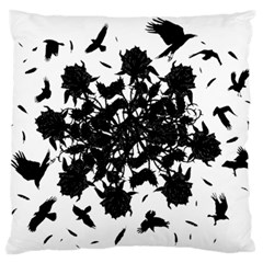 Black Roses And Ravens  Large Cushion Case (two Sides) by Valentinaart