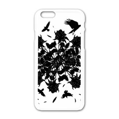 Black Roses And Ravens  Apple Iphone 6/6s White Enamel Case by Valentinaart